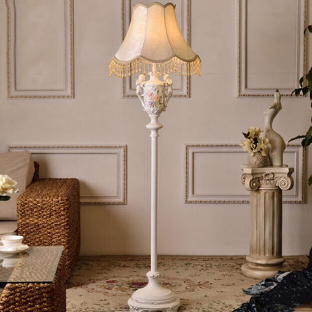 Resin European Style Fabric Lampshade Modern Floor Lamps