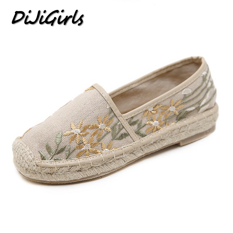 DiJiGirls Women Casual Flat Heels Shoes Woman Loafers Straw Hemp Rope Embroidery Fisherman Flower Slip On Boats Lazy Shoes sarah fleer hier kommt paul leicht