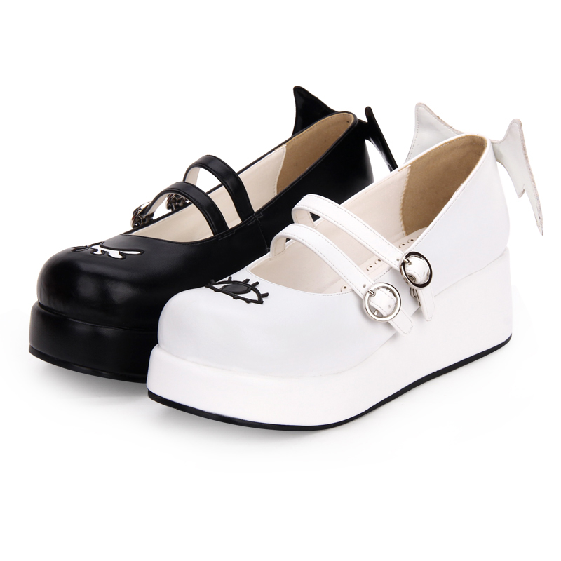 Angelic imprint The Devil and Angle's Eye & Wing Black and White Gothic Lolita Shoes Mary Jane Shoes Size 35-46 8593 gothic and lolita