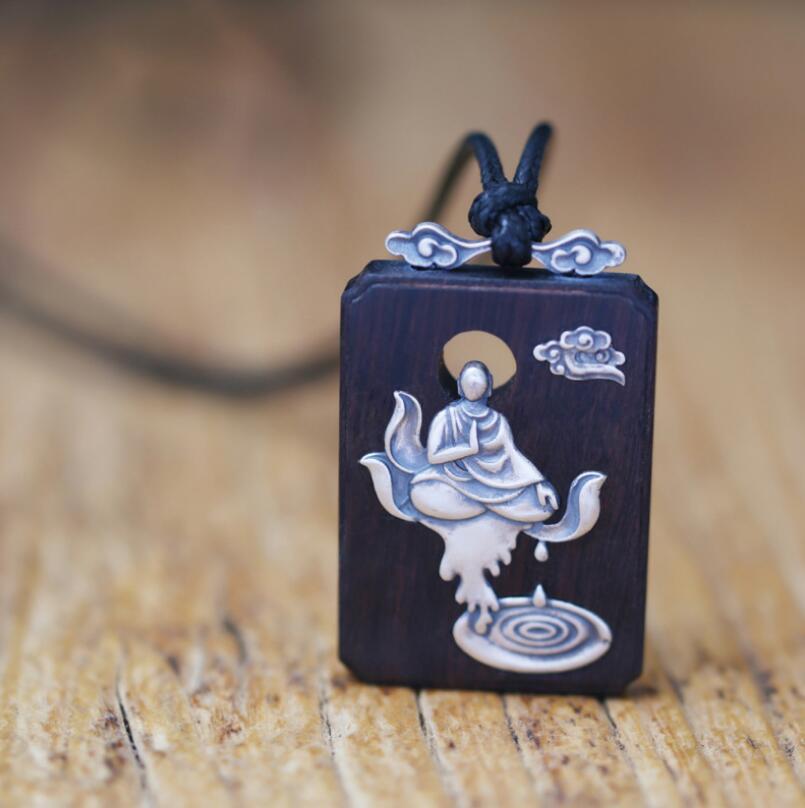 990 Sterling silver sandalwood Buddha meditation pendant necklace religious jewelry