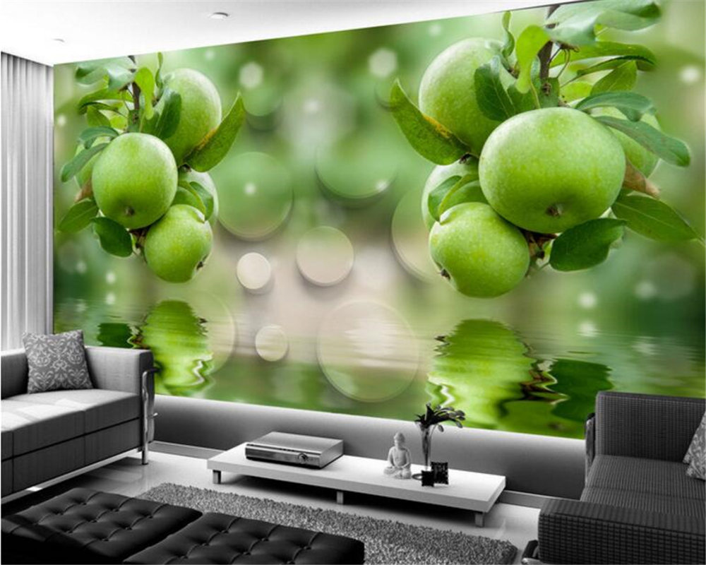 Beibehang Custom 3D wall paper green fruit fresh reflection background TV 3D photo wallpaper Decorative painting 3d wallpaper