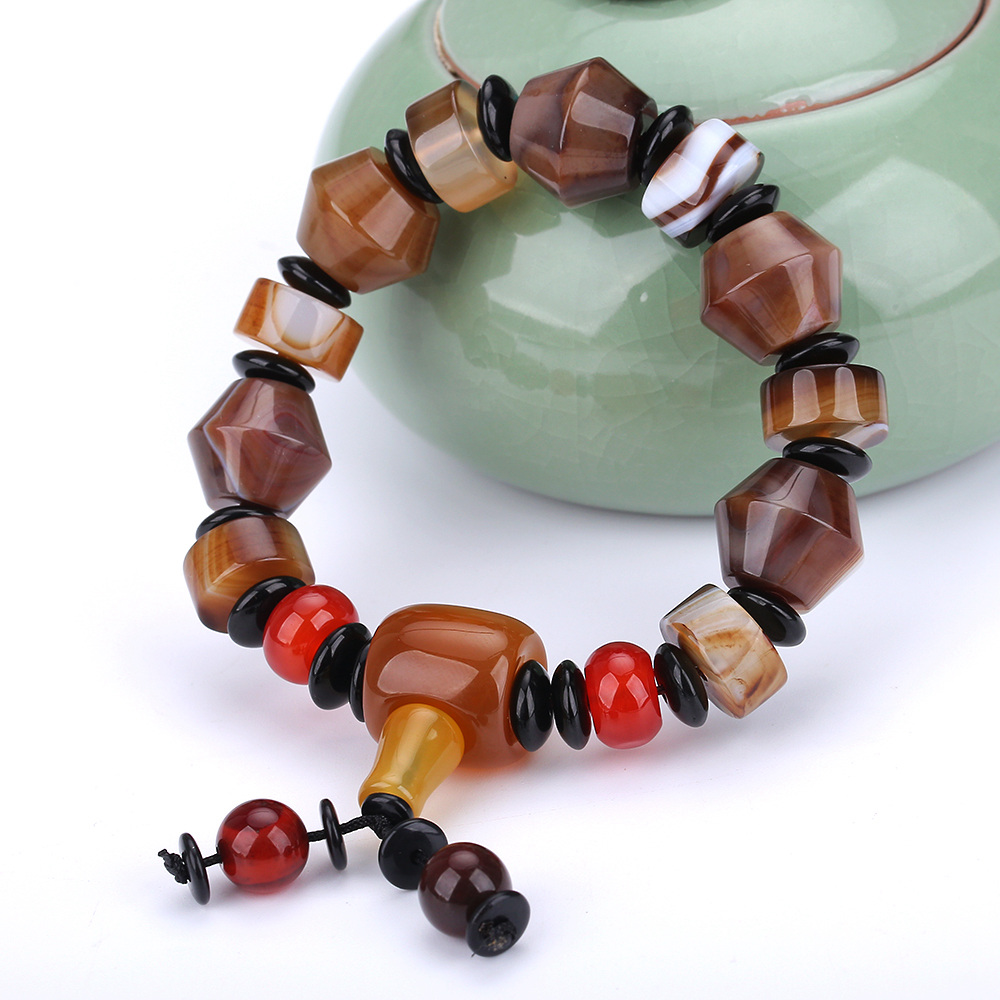 Natural Stone Bracelets Round Bead Hand String Lucky Women Men Fresh Simple Summer Crystal Jewelry Watch Original Agate Bracelet bead simple