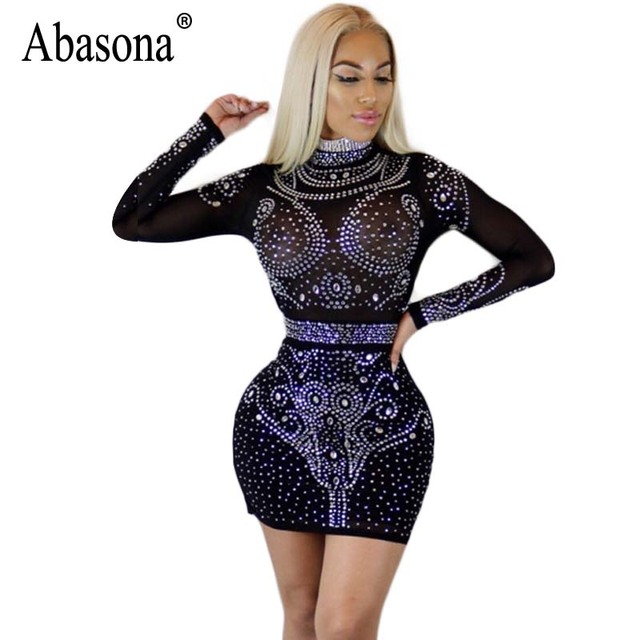 Abasona Spring Women Rhinestone Dresses Sexy Party Club Sparkle Dress Long  Sleeve Hollow Out Bodycon Pencil Mesh Dress 781a82acec93