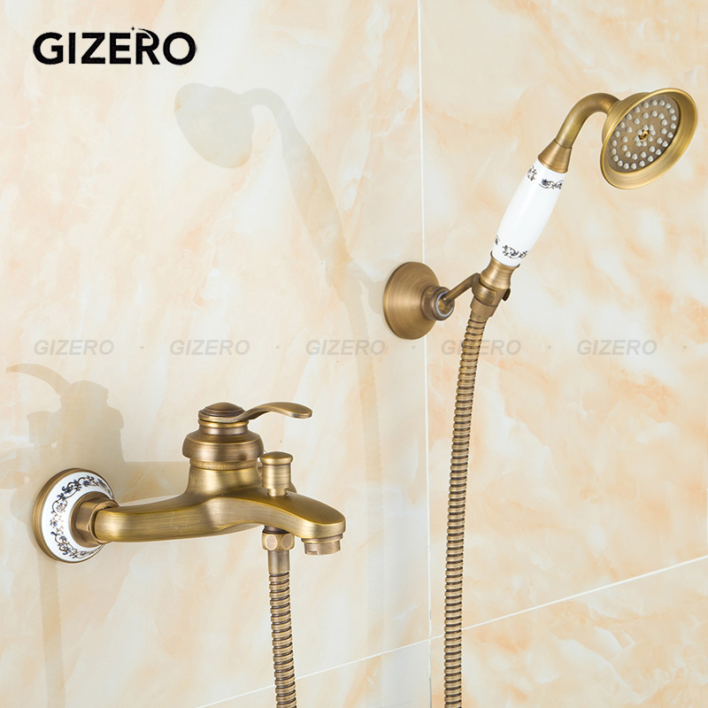 GIZERO Free shipping Vintage Bathroom Brass Shower Set Single Handle Shower faucet with ceramic handshower and