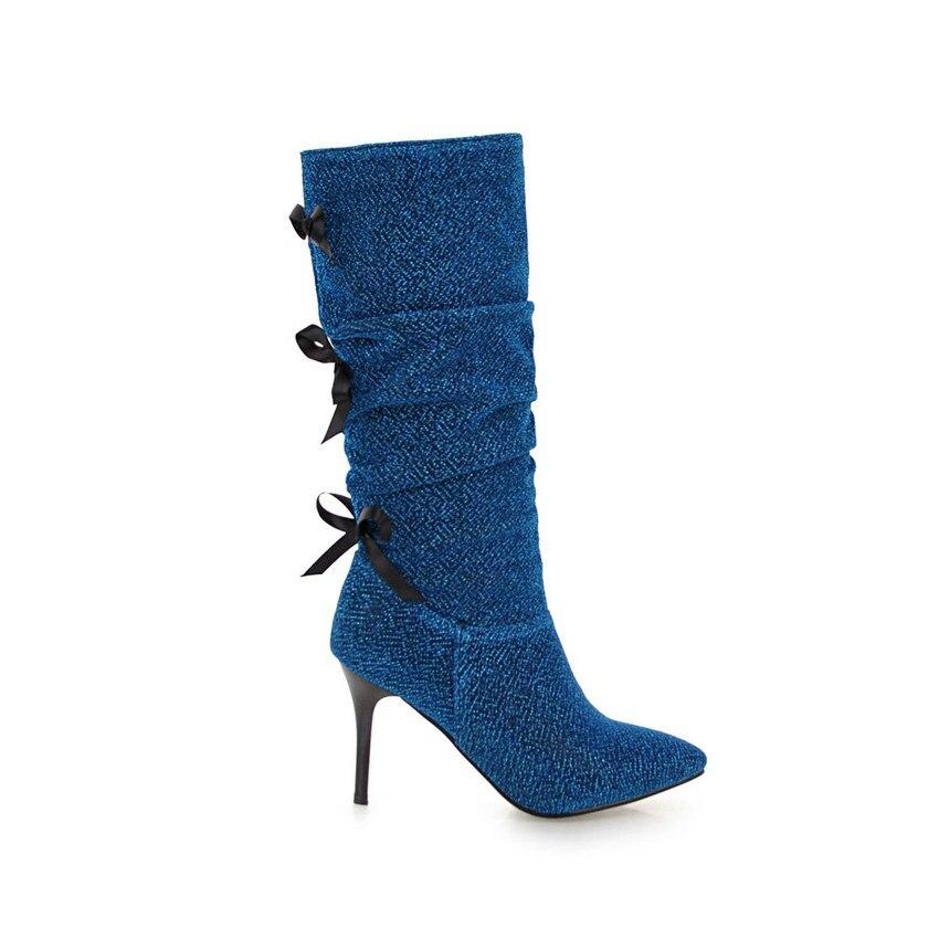 Bottes 34 Troupeau Haute Femmes Grand Taille Mince bleu Noir Pointu Les Tous 2019 forme Match pourpre Bout D'hiver À 43 Hauts Talons Genou Qutaa Plate a5RIxn