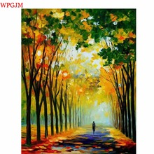 Paintings For Living Room Wall.Walking in the woods. Pastoral Landscape Decorative Pictures Hand Painted Canvas Art tree Picture