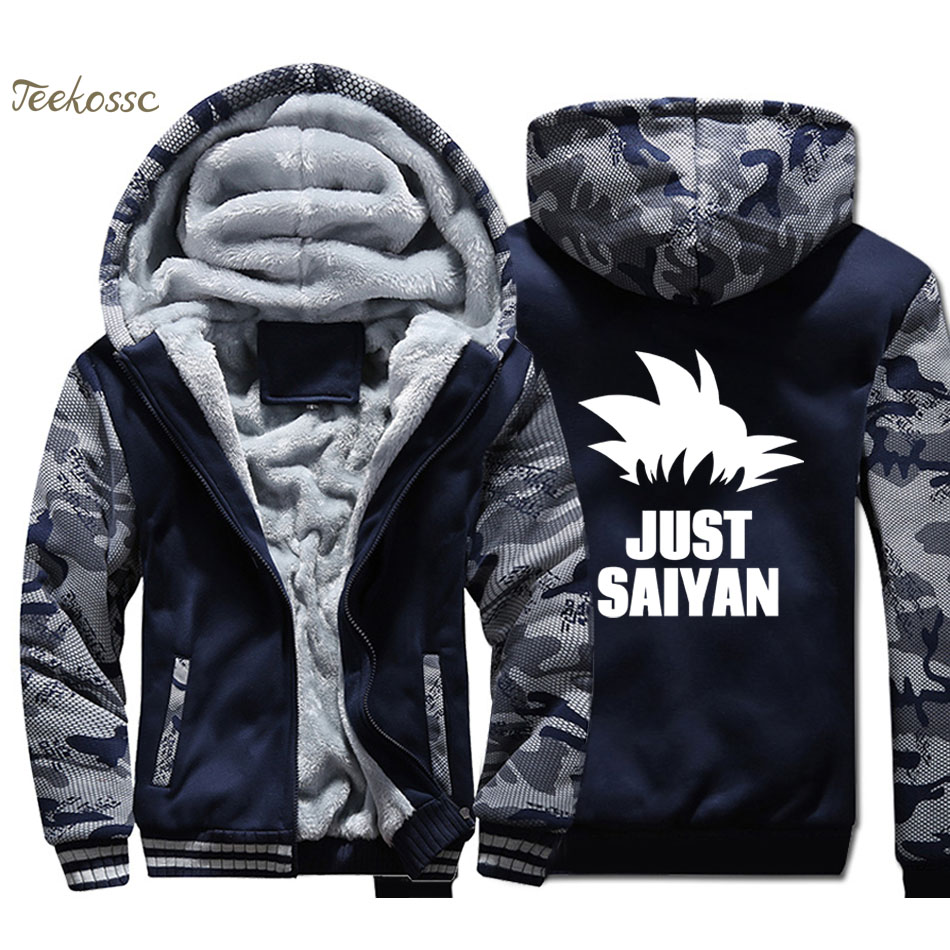 Anime Dragon Ball Just Saiyan Hoodie Men Harajuku Hooded Sweatshirt Coat 2018 Winter Warm Fleece Thick Vegeta Dragonball Jacket