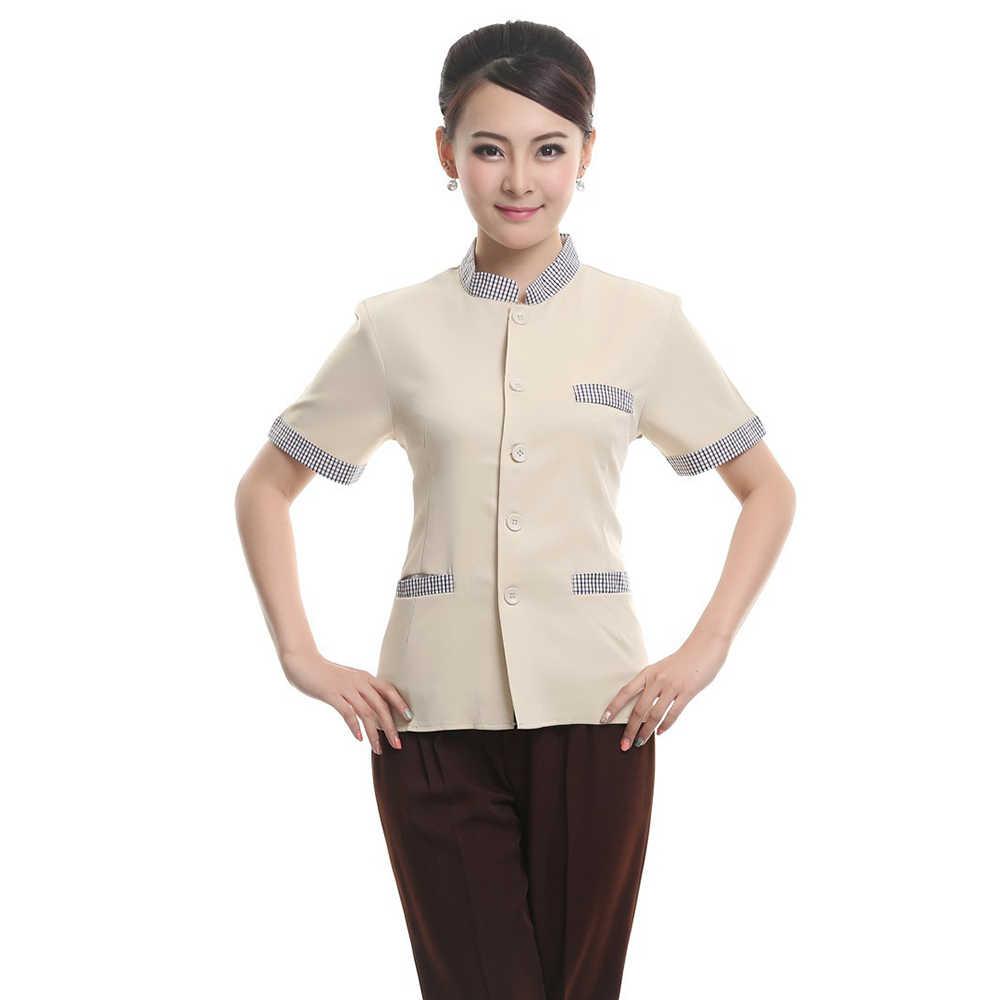 2018 primavera novedad de verano Hotel uniforme de mozo de restaurante café panadería tienda de ropa de manga corta chaqueta especial diseño de tela