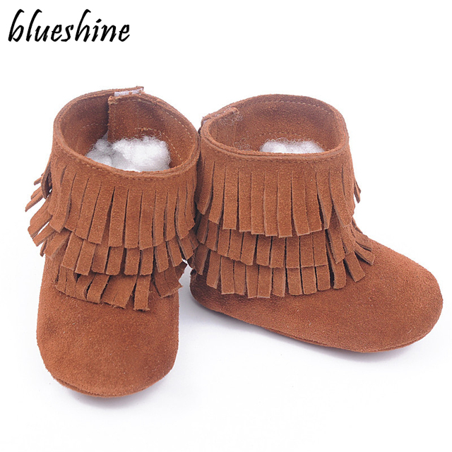 New Leather Baby Booties Three Layer Fringes Baby Moccasins Soft Newborn  Boyes Girls Tassel Shoes 0-24M Dropshipping 570110b9e0a3