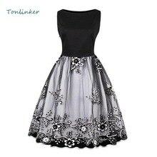 купить Tonlinker Summer women embroidery Dress vintage style  party dress black elegant female tank sleeveless dresses по цене 1367.1 рублей