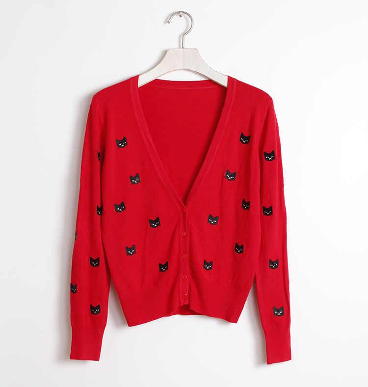 2019 весна-осень, с вышивкой свитер пальто с v-образным вырезом Кардиган женский вязаный милый Универсальный укороченные кардиганы тонкая верхняя одежда пальто Mujer