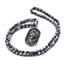 Nueva punk acero titanium collar de perlas de joyería domineering lion head colgante masculino marea masculina marea collar al por mayor