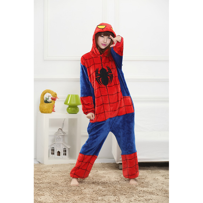 6923e5f97e70 2018 Spiderman Onesies Adult Children Pajamas Flannel Hooded Cosplay Boys  Girls Children Sleeping Clothes Women Animals Pajamas on Aliexpress.com