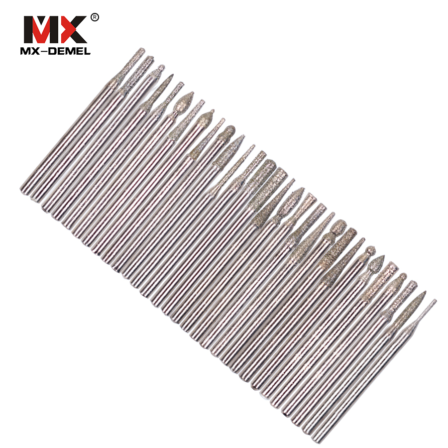 "MX-DEMEL 30pcs DIAMOND BURR Bit Set For DREMEL Rotary Tools 1/8"" 150 Grit Dremel Rotary Tool Dremel Rotary Accessories"