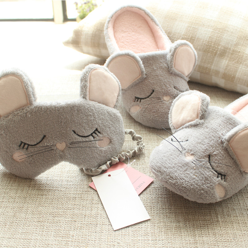 Women Kawaii Animal Mouse Plush Warm Home Slippers