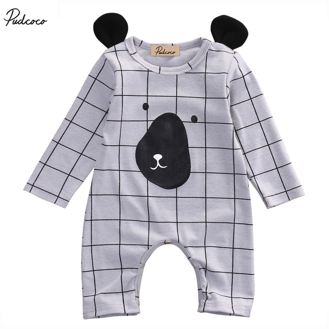 New 2017 Summer Newborn Baby Infant Boy Girl Cute 3D Bear Ear Face Romper Plaid Long Sleeve Jumpsuit Outfit 0-24M newborn infant baby girl clothes strap lace floral romper jumpsuit outfit summer cotton backless one pieces outfit baby onesie