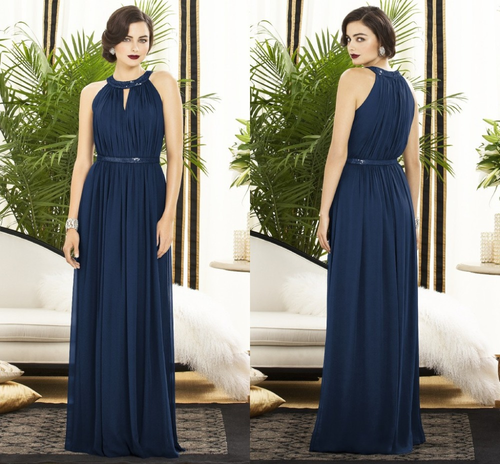 Charming A Line Wedding Party Gowns Long Chiffon Navy Blue Bridesmaid Dresses With Sashes For Bd 0135 In From Weddings