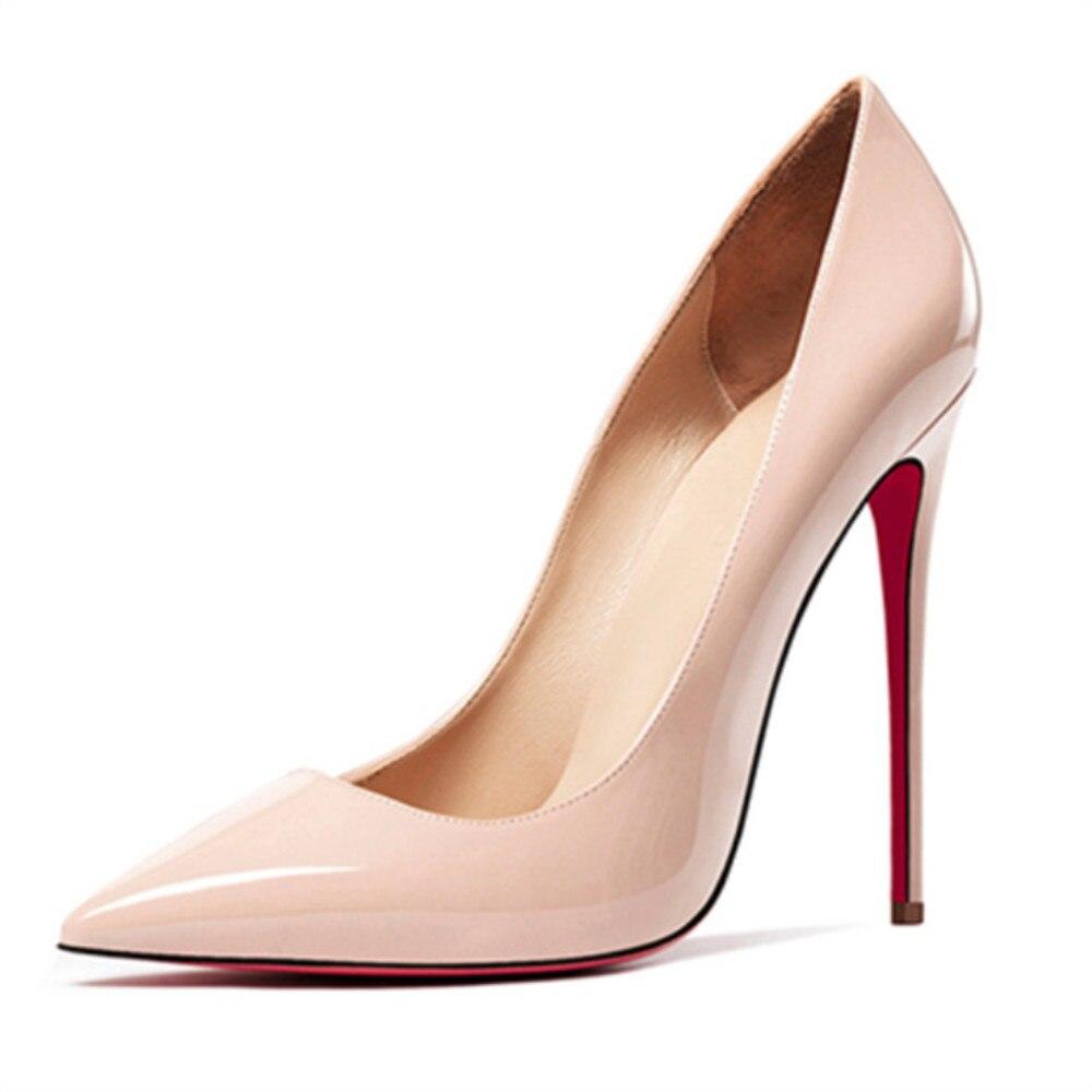 Bas rouge chaussures femmes Sexy pompes en cuir véritable chaussures à talons hauts talon mince mariage fond rouge bout pointu Stilettos fête OL