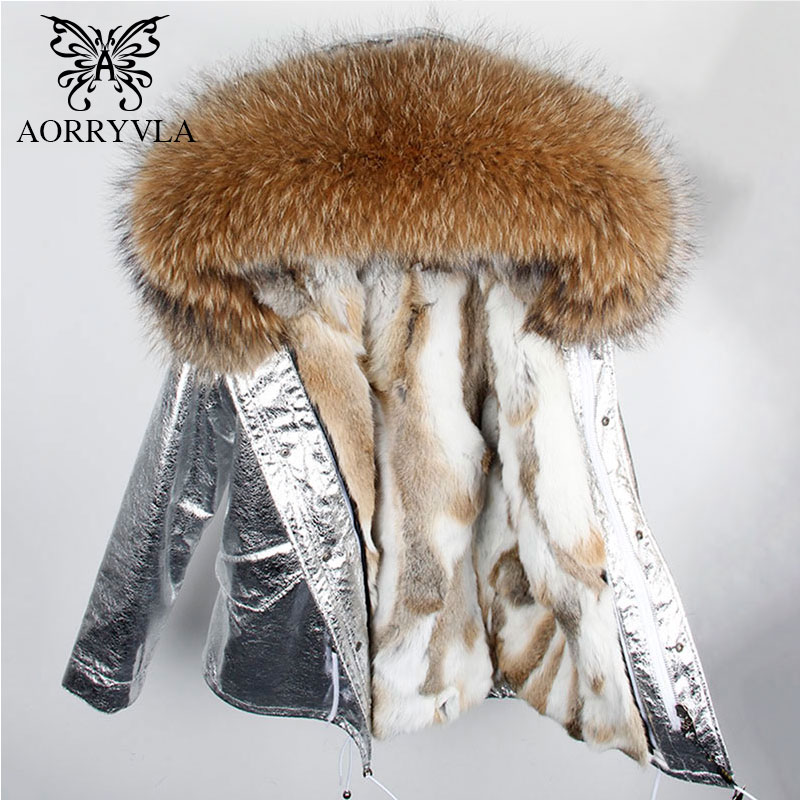 AORRYVLA 2018 Women Winter Fur Jacket Short Silver Color Large Raccoon Fur Hooded   Parka   ladies Luxury Rabbit Fur Winter Coat