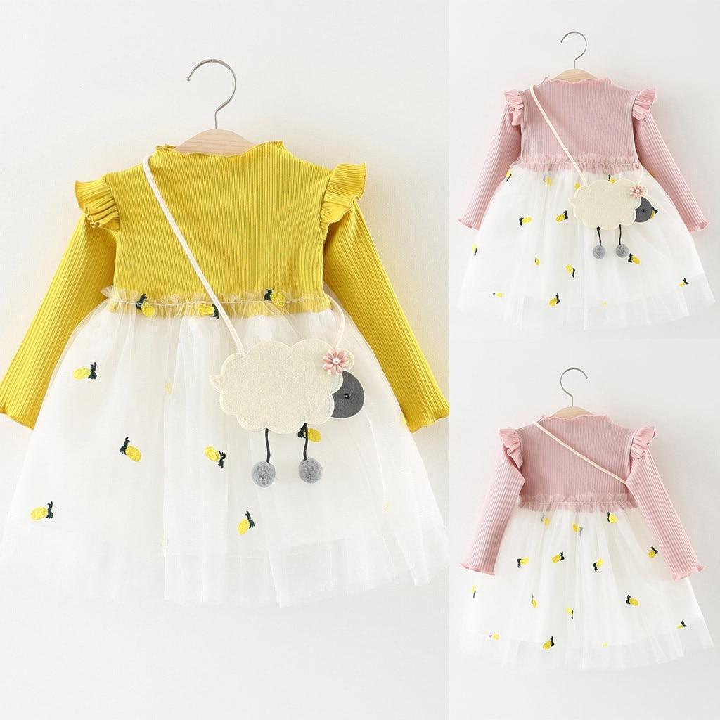 TELOTUNY girls dress long sleeve princess Toddler Baby Kids Girls Knitted Princess Cotton Tulle Dress Full Sleeve Clothes 1225