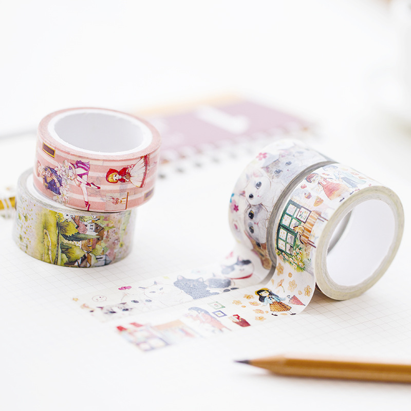 20mm X 7m Cute Lotkawaii Girl Animals Nature Decorative Washi Tape Diy Scrapbooking Masking Paper Tape School Office Supply colorful gilding hot silver alice totoro decorative washi tape diy scrapbooking masking craft tape school office supply