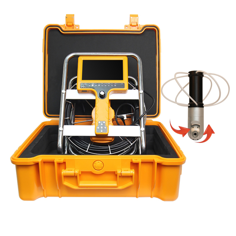 30m Cable Chimney Clean Inspection Video Camera Pan Tilt Rotation Pipeline Borescope Meter Counter Recording