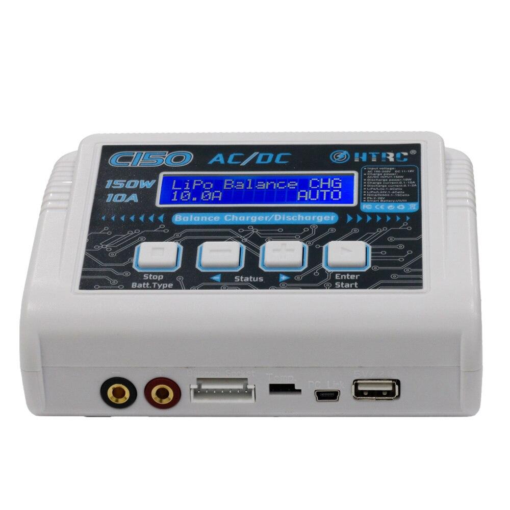 HTRC C150 AC/DC 150 W 10A RC Balance cargador descargador para LiPo LiHV LiFe Lilon NiCd NiMh Pb batería