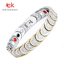 Oktrendy Golden Plated Titanium 4 Elements Magnetic Therapy High Strength Power Magnet Bracelets for Men Health Care Jewelry
