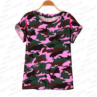 4 Colors Women Camouflage T Shirts Bat Sleeve T Shirts Stretch Cotton Tees Modal Tops Personalized