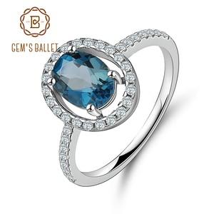 Image 5 - Mücevher bale 1.58Ct rüya doğal londra mavi topaz taş yüzükler kadınlar güzel takı 925 ayar gümüş moda yüzük
