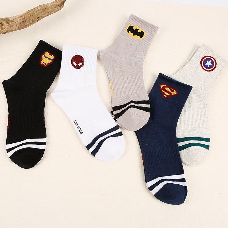 c9fcdd4ebe16 Newest Heroes Genera Socks Iron Man Captain L America Harajuku Socks Hip  Hop Batman Superman SpiderMan