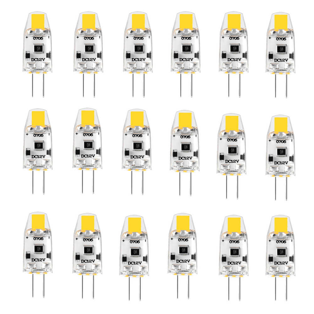 20 Pack G4 LED Bulb 12V DC Dimmable COB LED G4 Lamp Light Bulbs 1.5W 360 Beam Angle Replace 15W Halogen Warm Natural Cool White