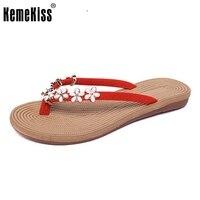KemeKiss4 Colors Women Vacation Flats Sandals Flower Flip Flops Slippers Women Summer Beach Shoes Women Sandals