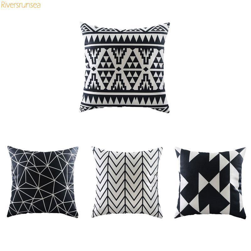 Modern Minimalist Decor Geometric Cushion Black And White Plush Cojines Decorativos Abstract Triangle Rhombus For Sofa Chair