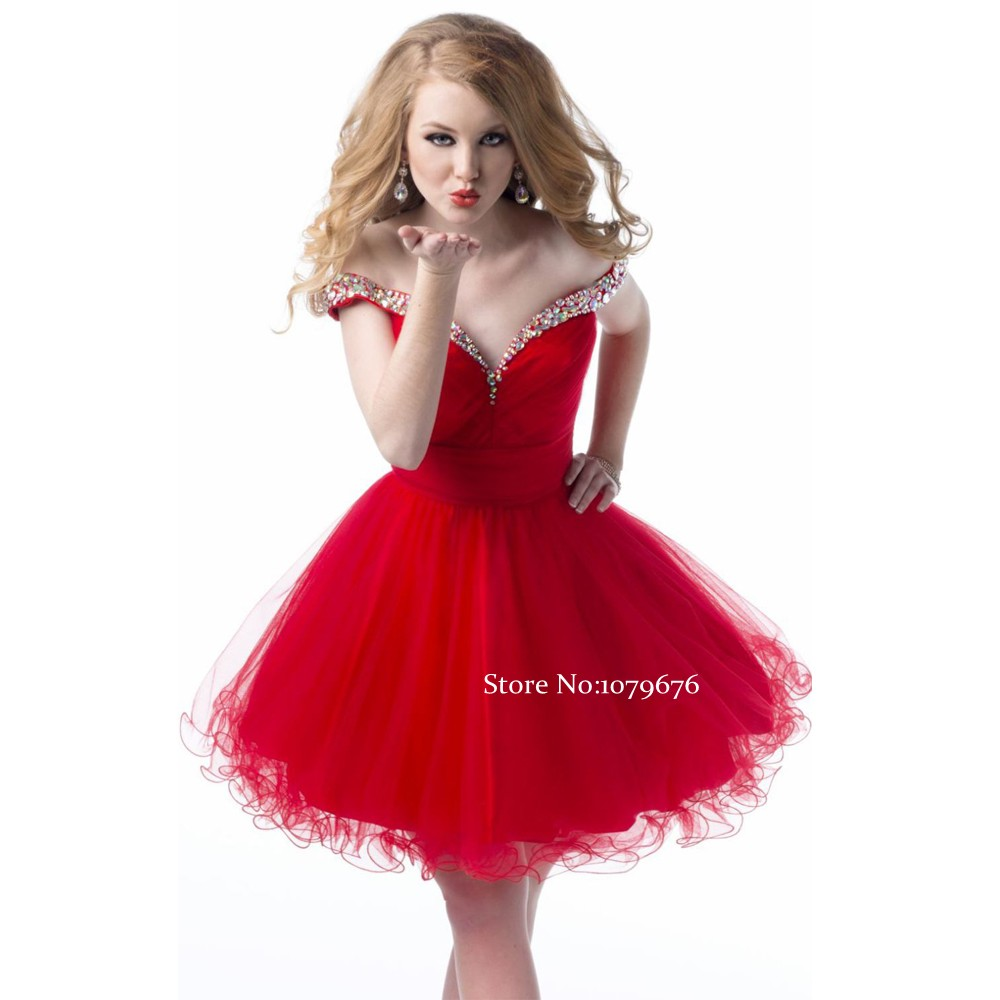 592a688919 New Style Off the Shoulder Red Cocktail Dress Short Prom Ball Gowns Pretty  Tulle Crystal Ruffles Ladies Dresses Party Homecoming on Aliexpress.com