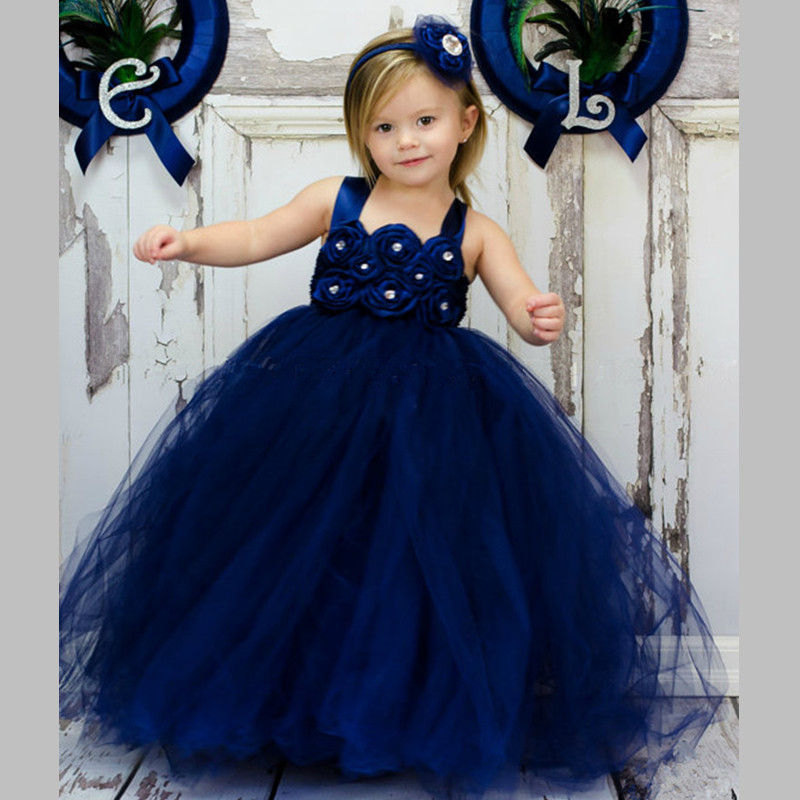 Handmade New Navy Girl Tulle Tutu Dress Baby Flower Girl