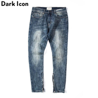 Solid Light Washing Inside Seam Zipper High Street Jeans Men 2018 Regular Style Patchwork Men S