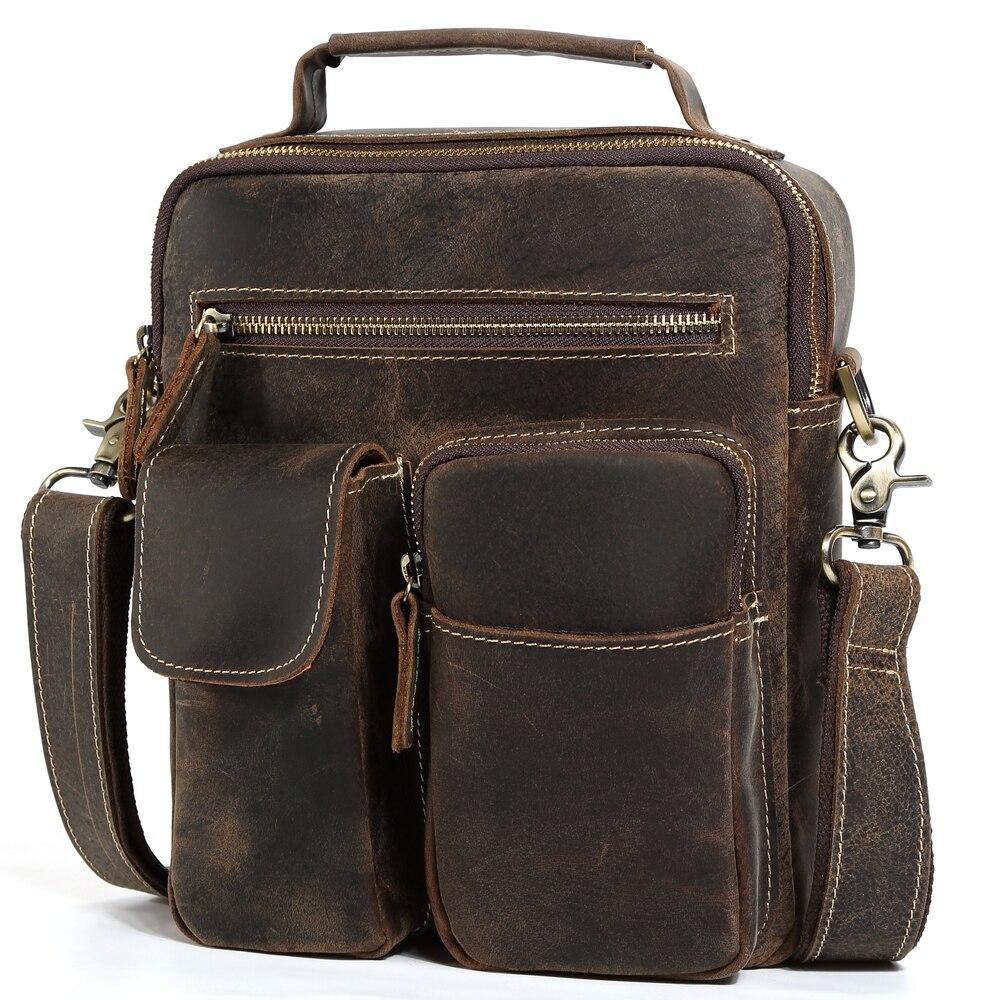 Useful Mens Vintage Genuine Leather Chest Bag Big Crazy Horse Leather Crossbody Bag Cowhide Messenger Ipad Shoulder Daypack Travel Bag Men's Bags