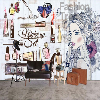 beibehang Fashion Art Nail Salon Beauty Shop Hand Painted Girl Wallpaper 3d Clothing Store Background Wall Decoration Wallpaper fashion hd europe and america hand painted cosmetics wallpaper shop makeup shop background wall
