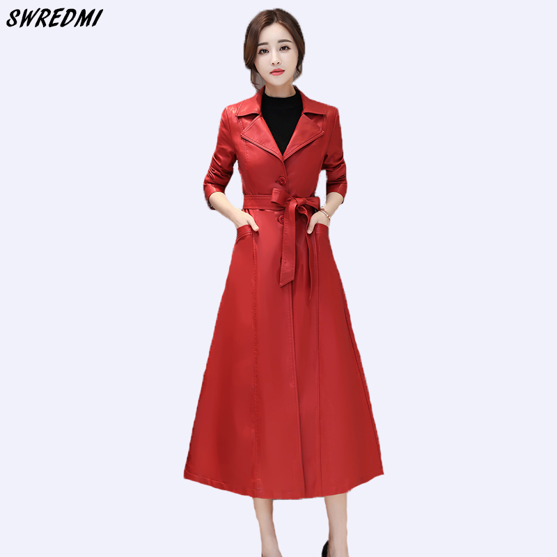 SWREDMI Women Long   Leather   Trench High Street Sashes Slim Female   Leather   Coat Jaqueta Feminina Autumn And Winter Ladies Clothing