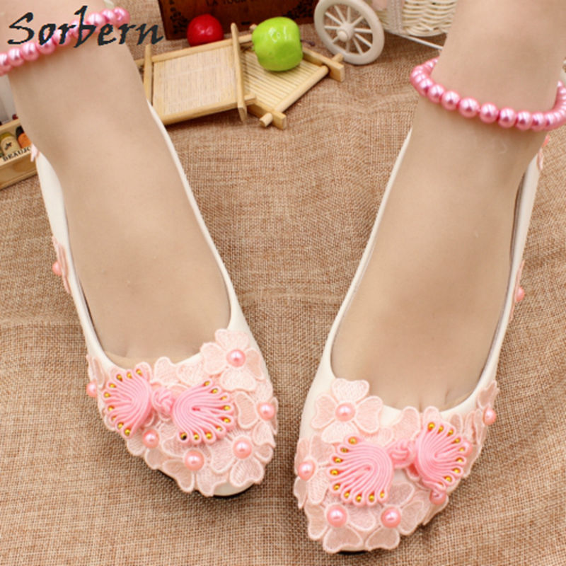 Pink Low Heel Wedding Shoes: Sorbern Pink Flowers Beaded Bridal Shoes 3Cm Low Heels