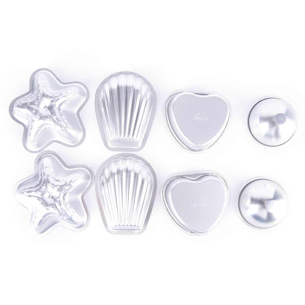 8 قطعة فضي اللون الألومنيوم نجم البحر القلب قذيفة الكرة ثلاثية الأبعاد قالب فقعات الحمام الكرة المجال قالب فقعات الحمام