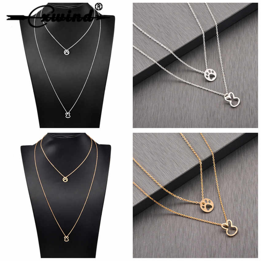 Cxwind Bohemian Multi layer Paw Bunny Pendant Necklaces For Women Choker Fashion Animal Geometric Charm Chains Necklace Jewelry
