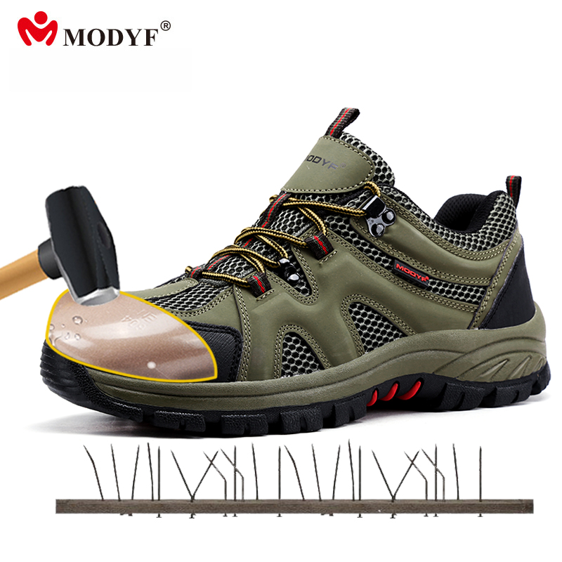 Modyf men steel toe cap work safety shoes casual mesh breathable outdoor travel boots puncture proof protection footwear plus size breathable mesh summer spring autumn men shoes steel toe cap work safety women fashion outdoors protection footwear