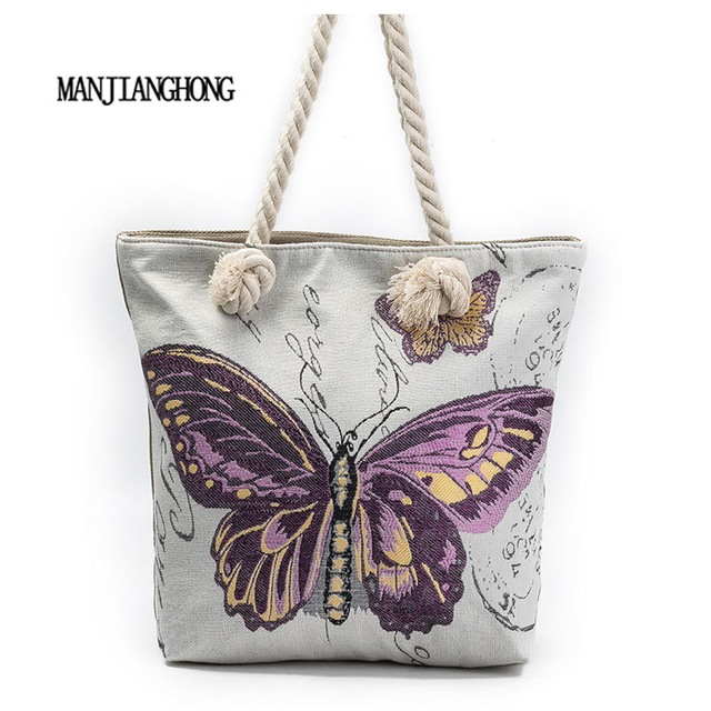 58335040ffc93e MANJIANGHONG Butterfly Printed Canvas Tote Female Casual Canvas Shoulder Bag  Large Capacity Women Single Shopping Bags