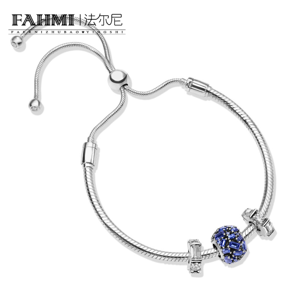 FAHMI 100% 925 Sterling Silver Blue Chiselled Elegance Charm Ice Sculpture Spacer Charm MOMENTS SLIDING BRACELET ARMBAND SETFAHMI 100% 925 Sterling Silver Blue Chiselled Elegance Charm Ice Sculpture Spacer Charm MOMENTS SLIDING BRACELET ARMBAND SET