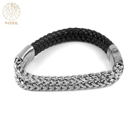 Magnetic Bracelet Leather Men S Stainless Steel Skull Charm Bangle Bracelet Braided Rope Men Charm Cuff