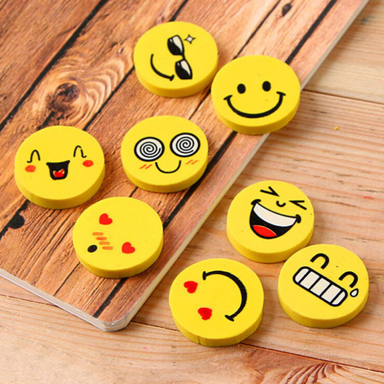 20 Pcs/lot Smile Face Erasers Rubber For Pencil Kid Funny Cute Stationery Novelty Eraser Office Accessories School Supplies цена