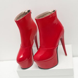 Image 3 - Sexy High Heels Ankle Boots For Women Shoe Fashion Platform PU Leather Short Boots White Red Party Fetish Shoes Large Size 45 47