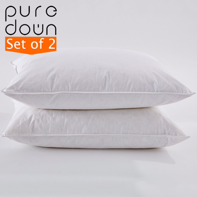 Puredown 15% White Goose Down Pillow Hotel High Quality 100% Cotton Cover Medium Soft Firmness Standard Size 48*74cm Set of 2